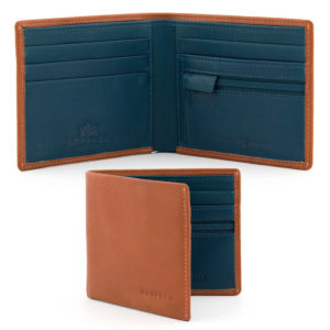Tan and Teal Leather Wallet