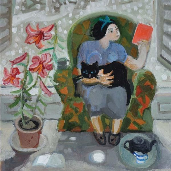 Reading with Cat and Lily Card